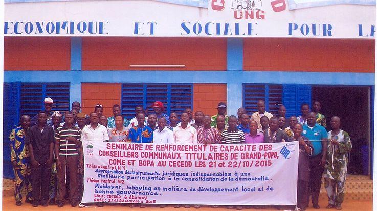 Les élus locaux des départements du Mono-Couffo à l'école de la gouvernance locale à Abomey, les 21 et 22 octobre 2015